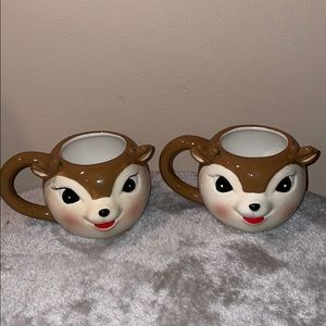 Martha Stewart set of TWO reindeer retro mugs
